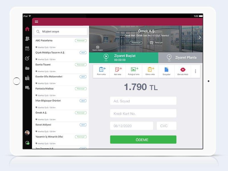 Ekmob mobil uygulamasında kart bilgileri giriş ekranı içeren mobil pos gösterimi