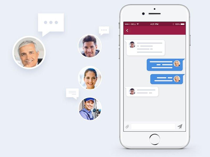 Ekmob mobil uygulamasında mesajlaşma ekranı