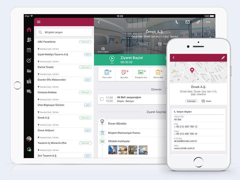 Ekmob mobil uygulamasında müşteri sayfası içerisinde detaylarının gösterimi